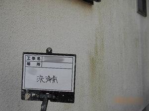 「コケの生えたモルタルを清潔感のある白い塗料で外壁塗装(神奈川県愛川町)」のBefore写真