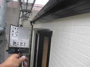 「レンガ風のサイディング外壁を、シンプルモダンなデザインに塗装した事例(千葉県市川市)」のAfter写真
